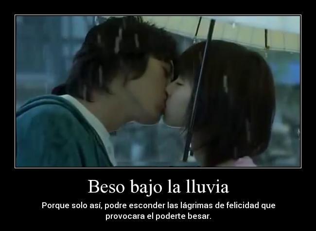 Beso bajo la lluvia imagen