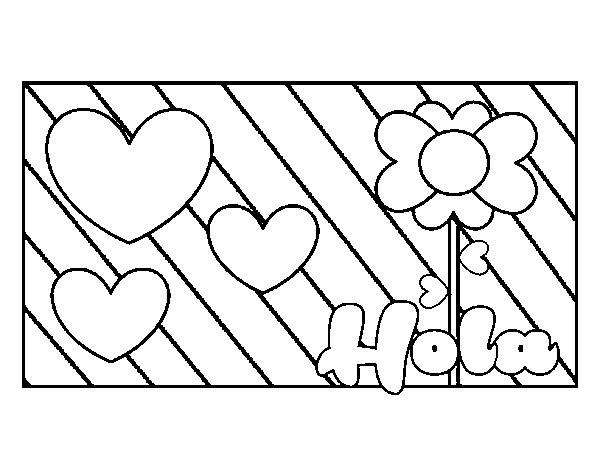 Imagenes para colorear de amor con un hola